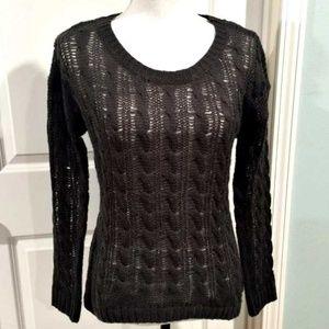 Olive & Oak Gray Sweater Size Medium Open Knit